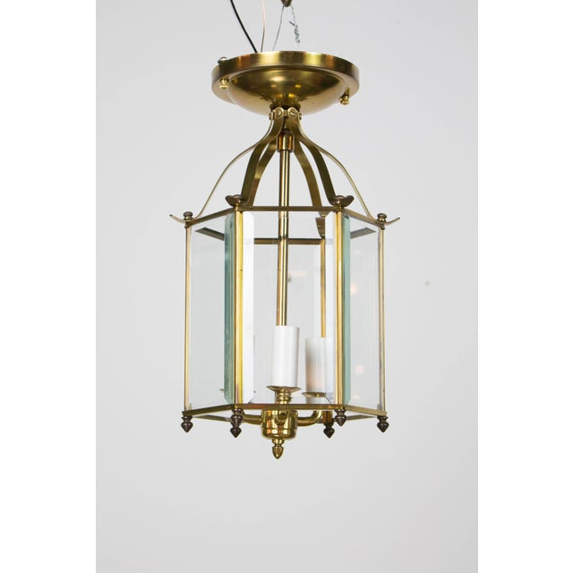 Traditional Hexagonal Brass Lantern For Sale - Image 3 of 3
