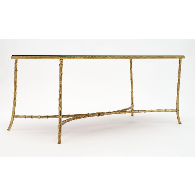 Maison Charles Gold Leaf Glass Top Brass Coffee Table For Sale In Austin - Image 6 of 10