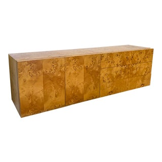 Milo Baughman Two-Piece Burl Floating Credenza For Sale