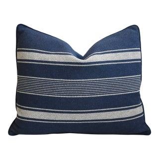 "Nautical Blue & White Belgian Striped Feather/Down Pillow 24"" X 20"" For Sale"
