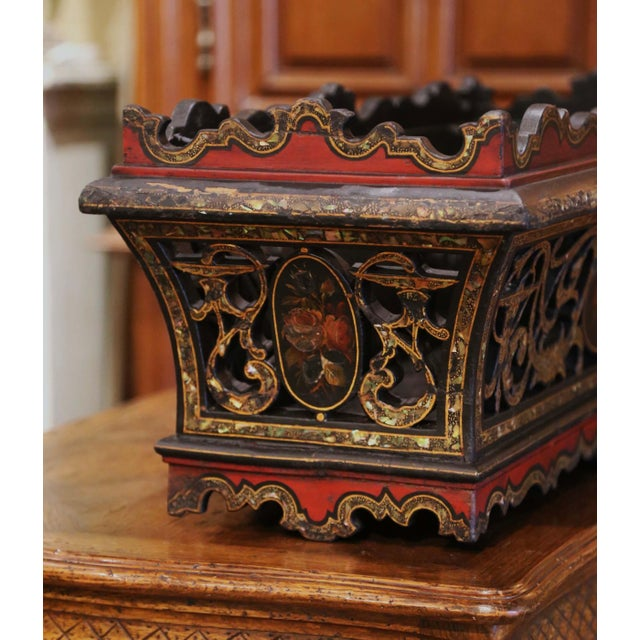 Red 19th Century French Napoleon III Mother of Pearl and Painted Jardinière For Sale - Image 8 of 13