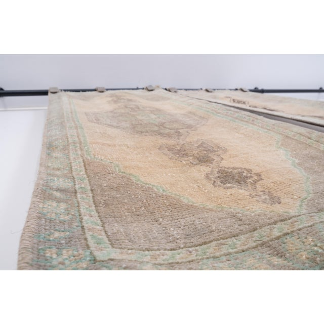 """Sand Distressed Small Turkish Oushak Rug - a Pair 19"""" X 42"""" For Sale - Image 8 of 10"""