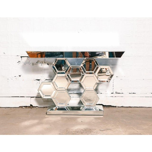 Vintage Mirrored Console Table For Sale In New York - Image 6 of 7