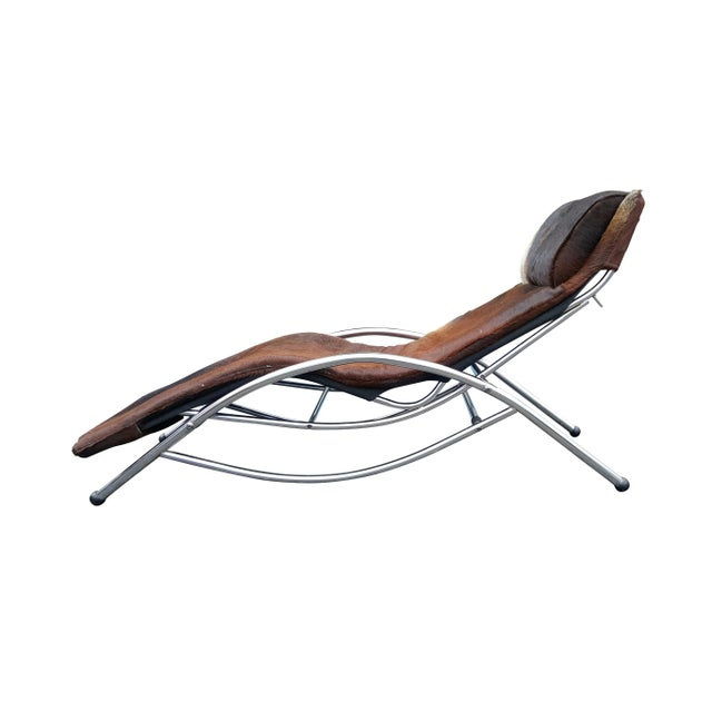 Modernist Cowhide Chaise Lounge - Image 3 of 7