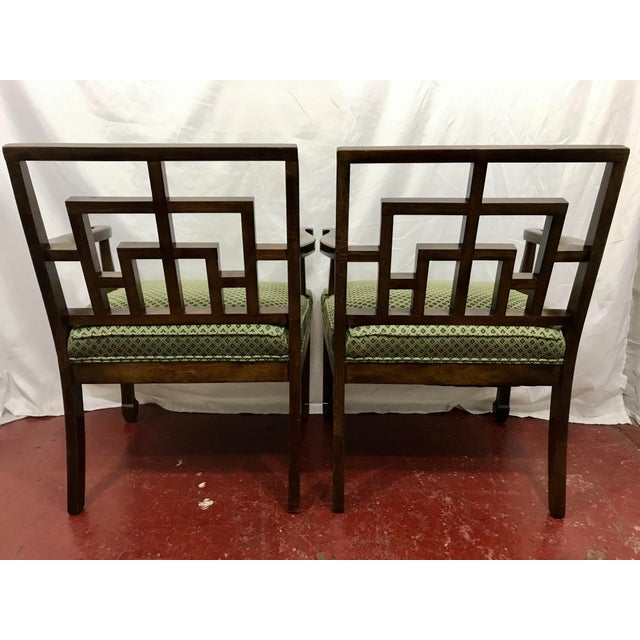 MCM Walnut Chippendale Interpretation Chairs a Pair For Sale - Image 4 of 6