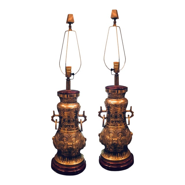 Mid Century Brass Lamps - a Pair For Sale
