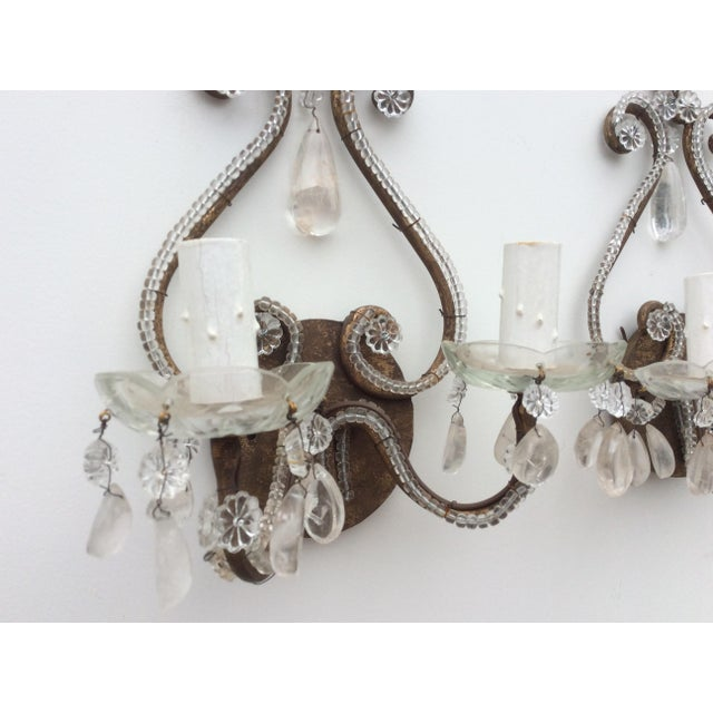 Rock Crystal Silvered & Beaded Metal Sconces - A Pair For Sale - Image 4 of 8