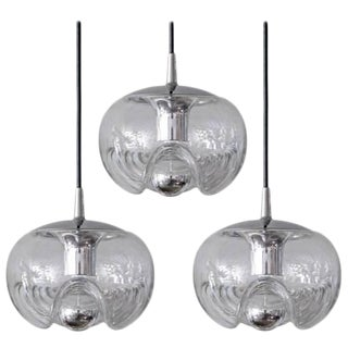 Clear Glass Hanging Lights - Set of 3 For Sale