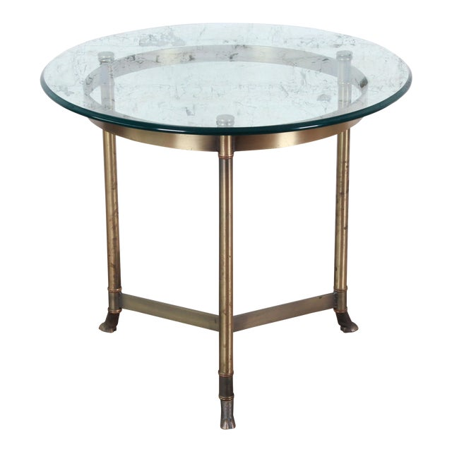 Labarge Midcentury Hollywood Regency Brass and Glass Hooved Feet Side Table For Sale