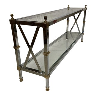 Maison Jansen Style Chrome Brass Console For Sale