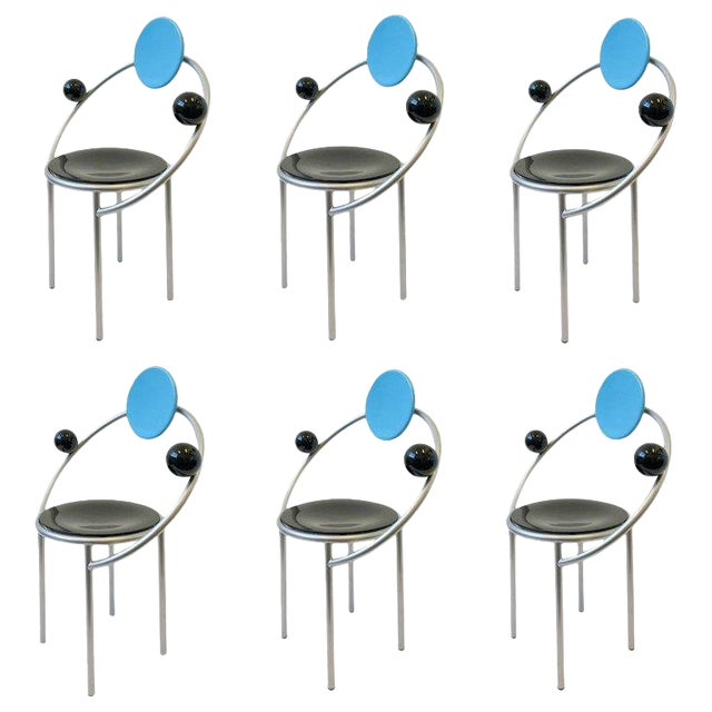 Set of Six Italian Memphis Dining Chairs by Michele De Lucchi For Sale