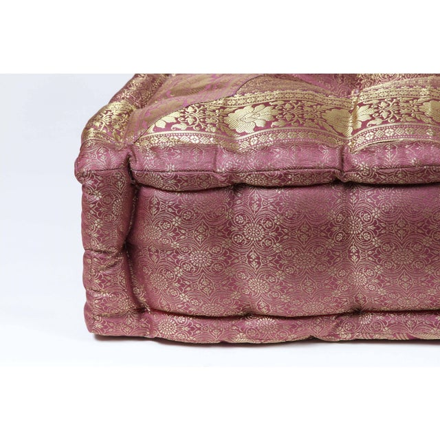 Boho Chic Oversized Silk Square Mauve and Gold Tufted Moroccan Floor Pillow For Sale - Image 3 of 7