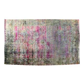 Mid Century Modern Silk Like Hand Made India Area Rug Carpet Blue Purple Pattern For Sale