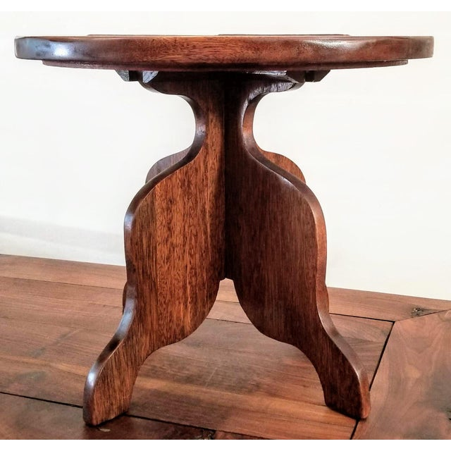 1927-1934 Spanish Cedar Side Table With Hispano-Moresque Tile Top For Sale - Image 4 of 9