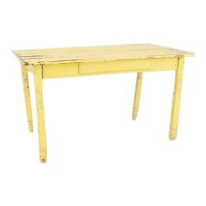 19th Century American Country Rustic Style Rectangular Yellow Painted Work (Dining) Table For Sale