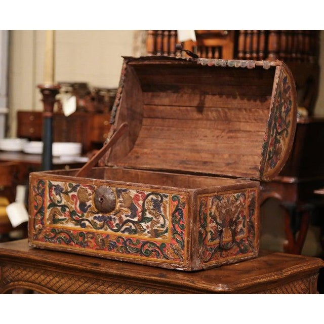 Brown 18th Century German Gothic Painted Decorative Bombe Box Wedding Trunk For Sale - Image 8 of 13