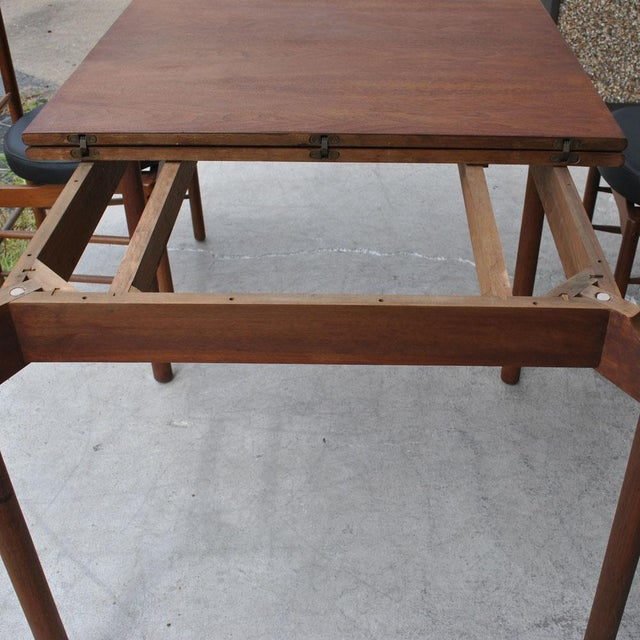 1960s Vintage Greta Grossman Teak Expandable Dining Table and Chairs - 5 Pieces For Sale - Image 9 of 12