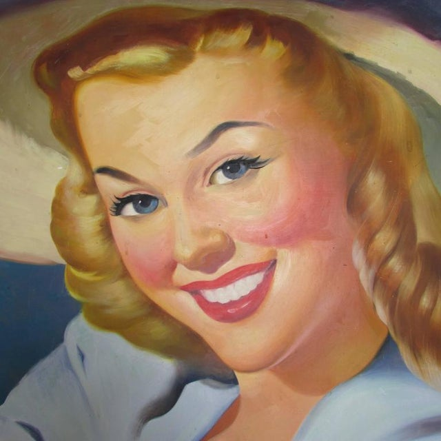 This is a lovely 1940s oil on board of a young woman painted by listed artist Thomas Limborg (1894-1992).