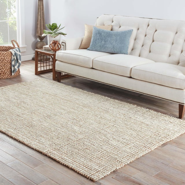 2010s Jaipur Living Mayen Natural Solid White & Tan Area Rug - 10' X 14' For Sale - Image 5 of 6