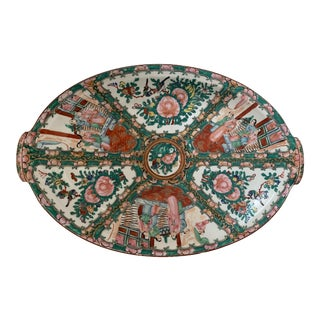 19th Century Chinese Rose Medallion Platter with Wall Hooks For Sale