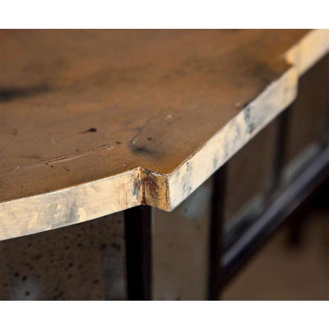 French Maison Jansen Mirrored Demilune Console Table For Sale - Image 3 of 5