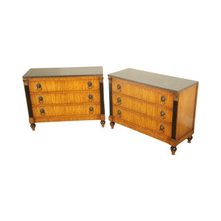 Grosfeld House Regency Style Pair Marble Top Satin Wood Chests For Sale