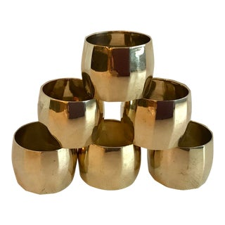 Vintage Brass Faceted Napkin Rings - Set of 6 For Sale