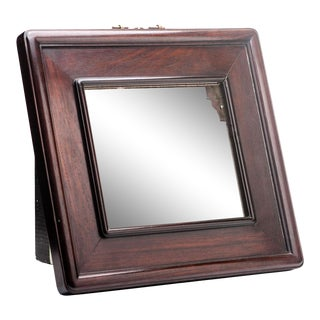 19th Century Antique Chinese Mirror in Rosewood Frame With Hanging Hardware For Sale