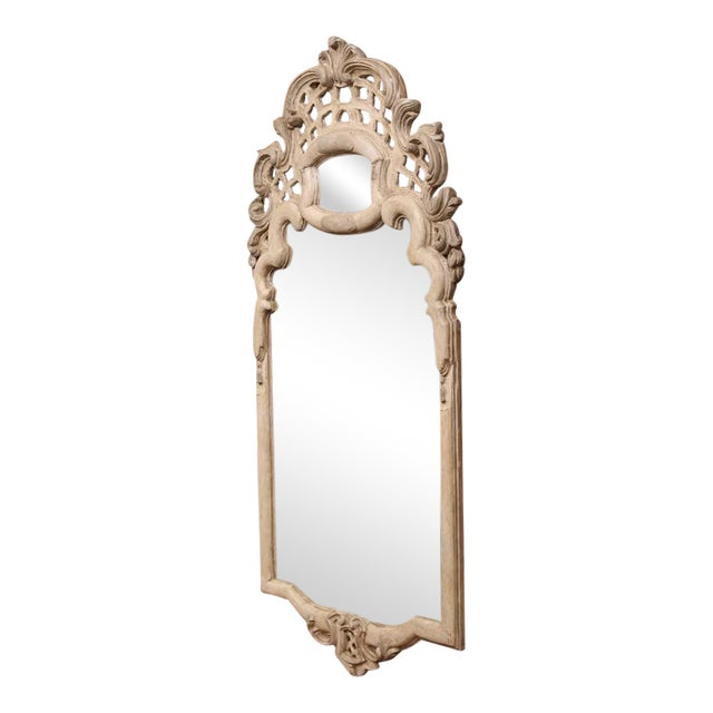 Early 20th Century Italian Carved Painted Mirror With Antiqued Glass For Sale