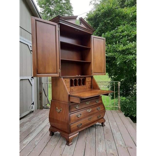 Chestnut Vintage Drexel Wallace Nutting Bombe Kettle Base Blind Door Secretary Desk For Sale - Image 8 of 13