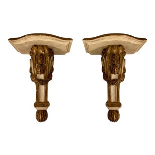 Pair of French Terracotta Gilded Wall Brackets For Sale