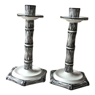 Italian Ceramic Hand-Painted Candlesticks - a Pair For Sale