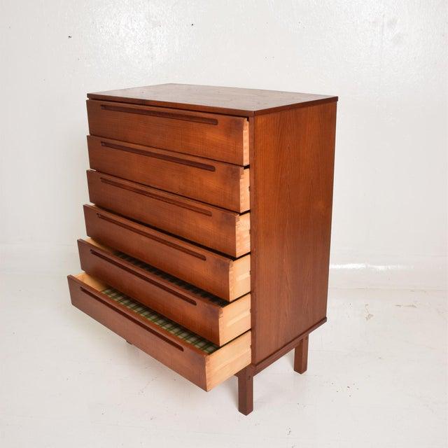 1960s Midcentury Danish Modern Teak Dresser Tall Highboy by Nils Jonsson For Sale - Image 5 of 12