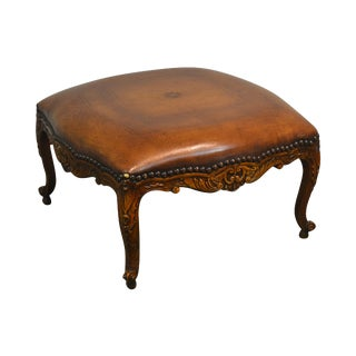 Maitland Smith French Louis XV Style Carved Mahogany Brown Leather Square Ottoman