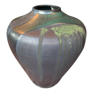Thom Lussier Ceramic Vase With Green and Metallic Black Glaze For Sale
