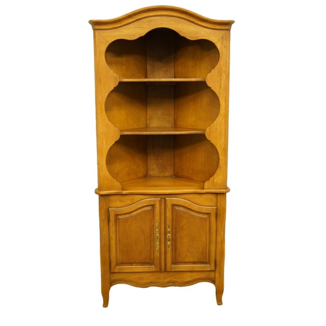 Brown 20th Century French Country Drexel Heritage Solid Maple Corner Cabinet For Sale - Image 8 of 8