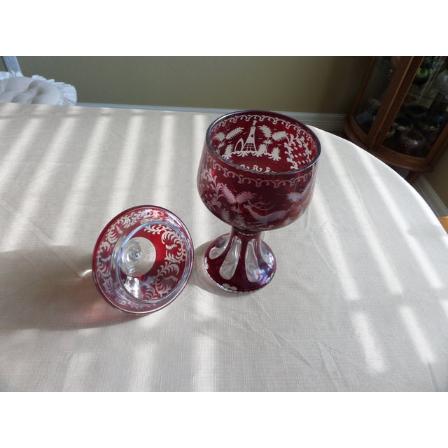 Boho Chic Bohemian Ruby Cut to Clear Covered Compote For Sale - Image 3 of 11