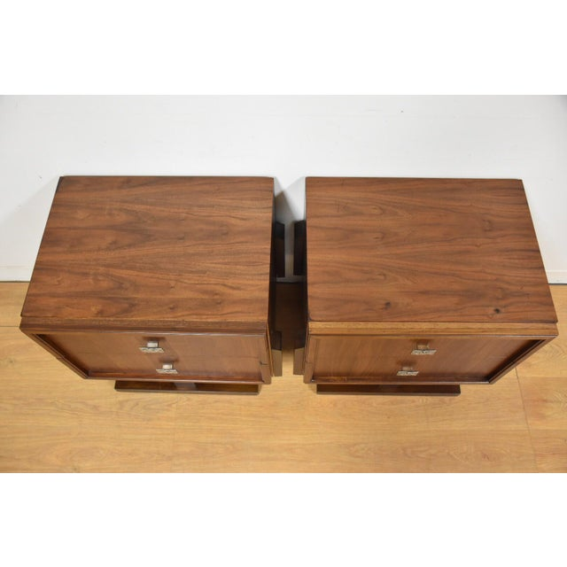 Mid-Century Brutalist Walnut Nightstands - A Pair - Image 6 of 11