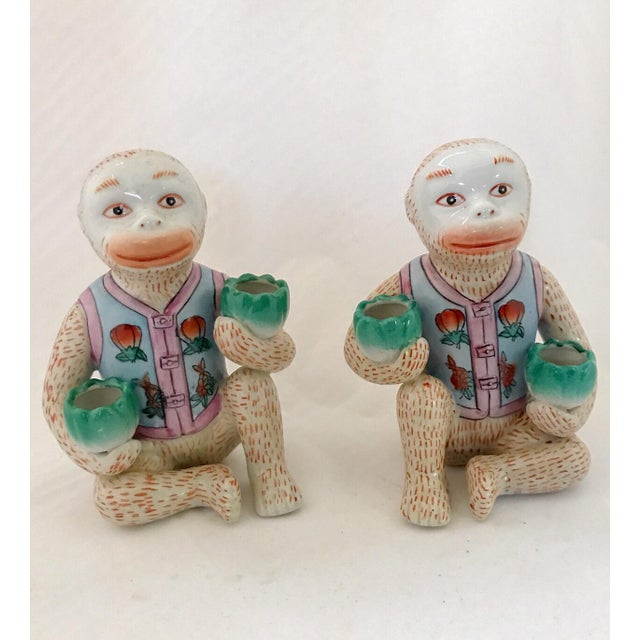 Vintage Chinese Ceramic Monkey Gardener Seated - a Pair For Sale - Image 11 of 11