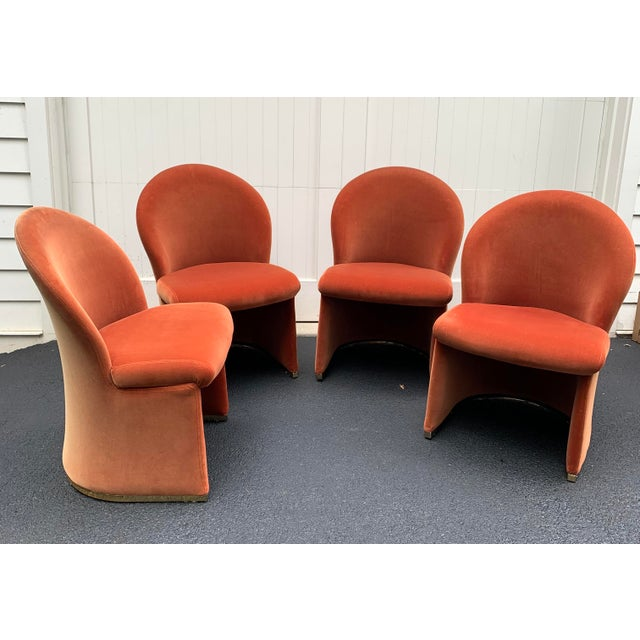 1980's Velvet Chairs With Brass Base - Set of 4 For Sale - Image 13 of 13