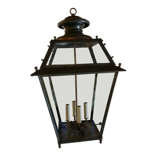 French Brass, Iron & Copper Gas Lantern Signed For Sale