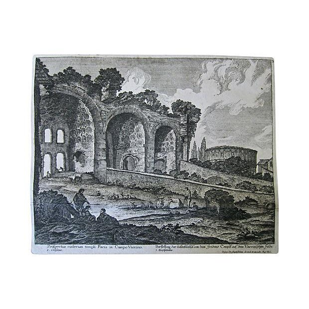 Greek Ruins Antique Etching C.1759 For Sale