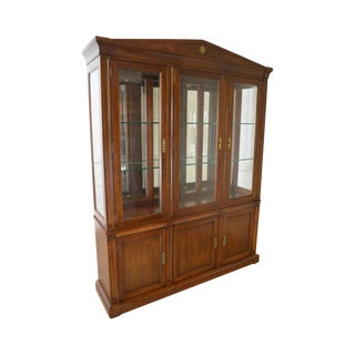 Ethan Allen Medallion Collection Large Cherry Breakfront China Cabinet For Sale