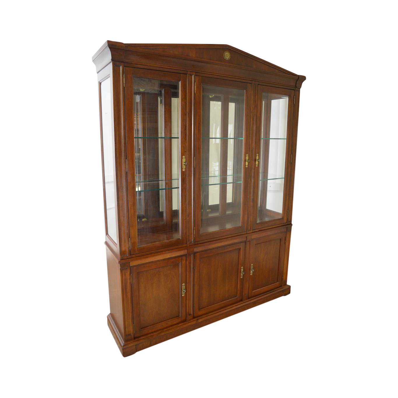 Ethan Allen Medallion Collection Large Cherry Breakfront China Cabinet