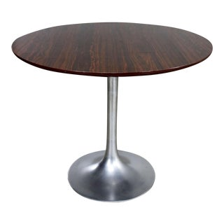 Saarinen Style Tulip Base Table in Aluminum with Woodgrain Laminate Top For Sale