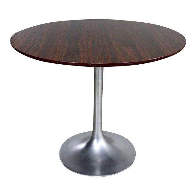 Saarinen Style Tulip Base Table in Aluminum with Woodgrain Laminate Top For Sale