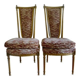 Upholstered Gilded Side Chairs - A Pair