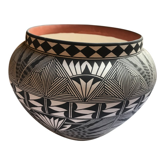 Acoma Pueblo Pottery Polychrome Bowl Signed Chino For Sale