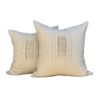 Rustic Linen Pillows With Trim - a Pair For Sale