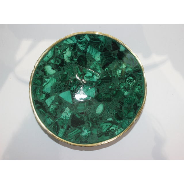 Rustic Hand-Crafted Malachite Bowl With Scalloped Brass Edging For Sale - Image 3 of 12
